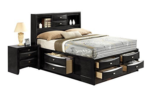 (Global Furniture Linda Bed, Queen, Black)