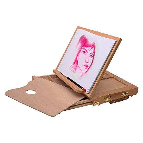 Artina - Caballete de Pintura de Mesa/Tablero para Pintar Calais Madera de Haya comodo, portatil Plegable - 33x26x3cm