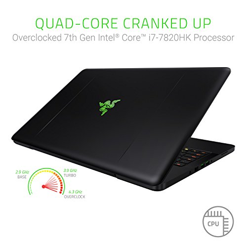 Razer Blade Pro 17: Gaming Laptop - 4K Touchscreen - ULP Mechanical Keyboard - Intel Quad-Core Overclocked i7-7820HK - NVIDIA GeForce GTX 1080 – DDR4 32GB RAM - 1TB NVMe - Windows 10 - CNC Aluminum