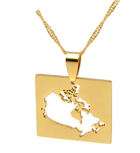 AccessCube Unisex Country Map Flag Pendant Necklace Gold Silver Color Charm Maps Jewelry (Canada/Gold)