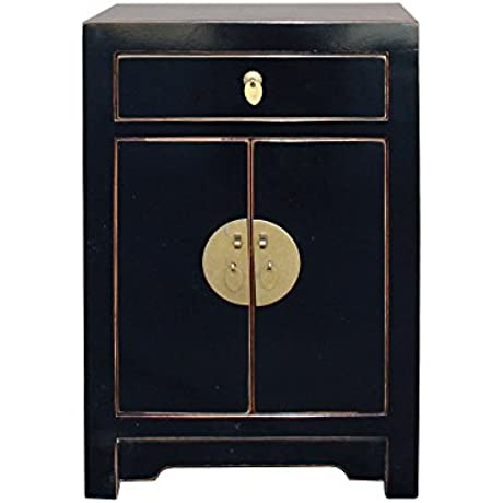 Oriental Black Lacquer Round Moon Face End Table Nightstand Acs3213