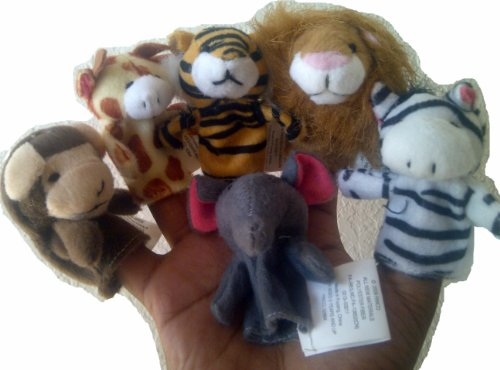 Animal Finger Puppets (1 Dozen) - Includes 2 Sets of Lion, Tiger, Giraffe, Zebra, Monkey and Elephant