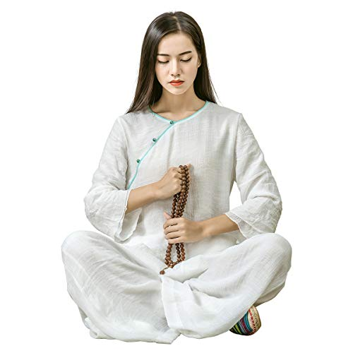 (KSUA Womens Tai Chi Clothes Zen Meditation Uniform Silk Cotton Kung Fu Clothing, White US XS/Tag S)