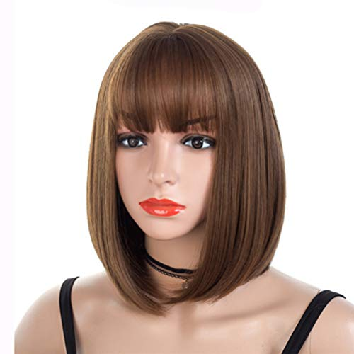 Short Bob Wig-Women's Ladies Full Head Straight Brown Wigs For Halloween Costume Cosplay party and Daily Use Fancy Dress Synthetic Hair Natural Fashionable Heat Resistant Natural Looking Celebrity Wig -