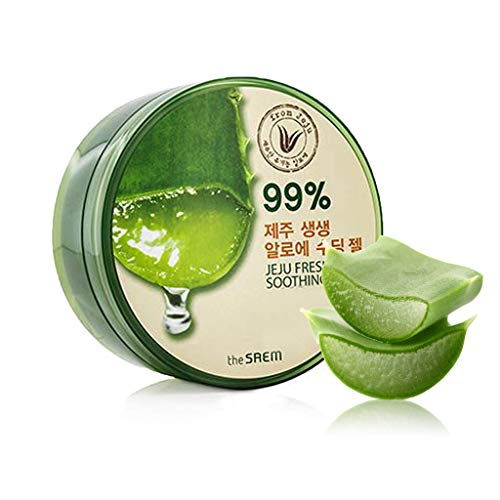 Fresh Aloe Vera Face - [the SAEM] Jeju Fresh Aloe Soothing Gel 10.1 fl.oz. (300ml) - 99% Aloe Vera, Hydrates & Heals Dry, Itchy & Damaged Skin & Hair/Acne, Sunburn, Rash & Dandruff Relief