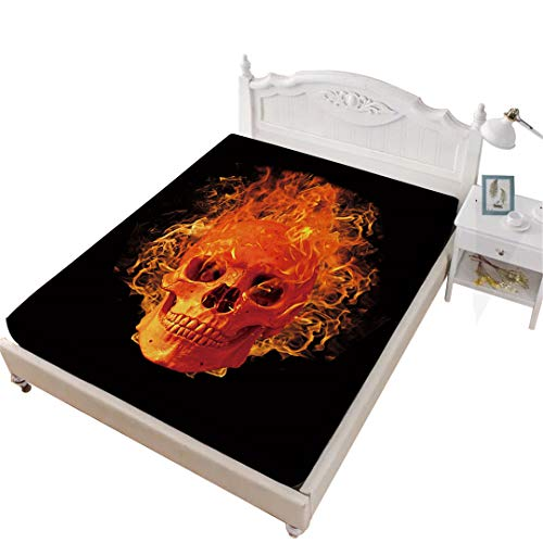Rhap King Fitted Sheet, Skull Printed King Size Sheet, Black Halloween Decor 1 piece King Size Deep Pocket Bedding Fitted Sheet