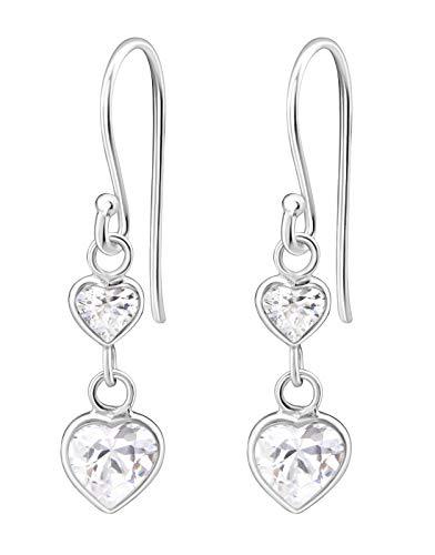 (Hypoallergenic Sterling Silver Double Heart CZ Dangle Earrings for Kids (Clear))