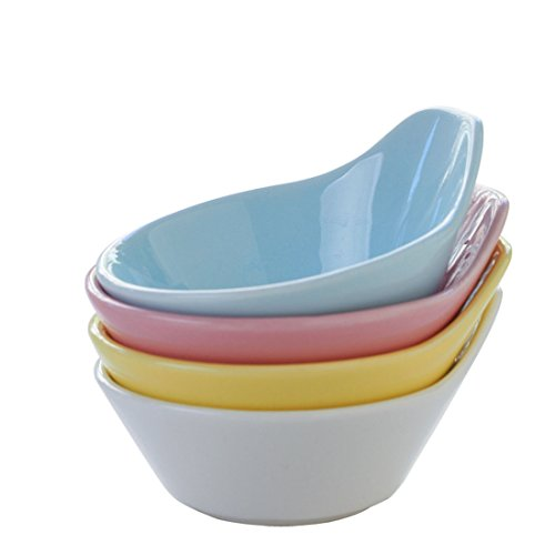 Ceramic Mini Inequality Bowl Sushi Dipping Bowls Appetizer Plates Sauce Dishes Milk Creamer with Handle 3.5'' Macarons Color(Set of 4) - 3.5' Dipping Bowl