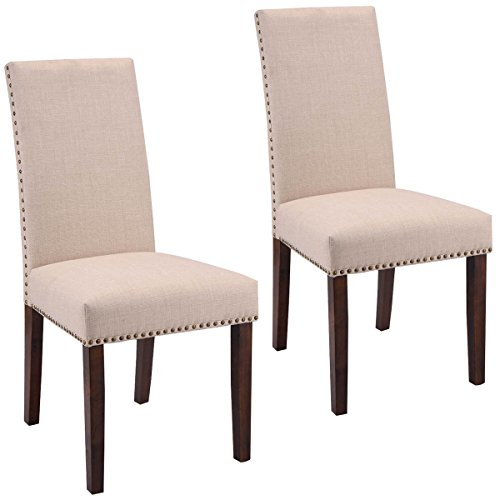 Walnut High Chair (Giantex Set of 2 Fabric Upholstered High Back Dining Chairs Armless Home Furniture)