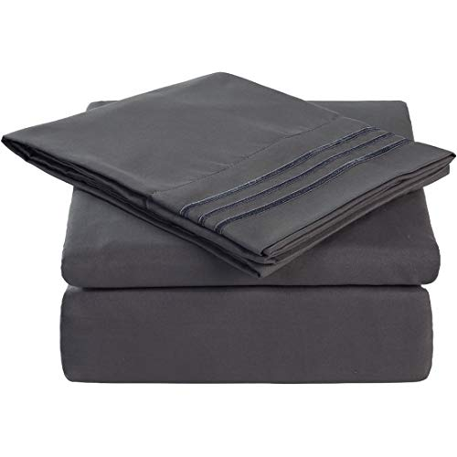 California King 6 Piece Bed Sheet Set 1800 Bedding 100% Microfiber Polyester,Extra Deep Pocket,Breathable,Warm,Hypoallergenic,Soft,Comfortable,Durable,Include 1 Flat,1 Fitted,4 Pillowcases Dark Grey