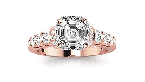 1.75 Ctw 14K Rose Gold Designer Four Prong Pave Set Round Diamonds Engagement Ring Asscher Shape (1 Ct H Color SI2 Clarity Center - Engagement Diamond Ring Asscher