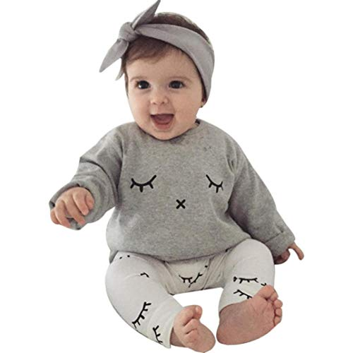 Newest Baby Boy Girl Cute Eyelash Print T-shirt Tops+Pants Outfits Clothes (age:9-12 month, Gray) by InMarry