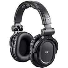 Monoprice Premium Hi-Fi DJ Style Over Ear Pro rechargeable Bluetooth Headphones- Black with 10 hours of audio playback, mic and Qualcomm aptX Support for Apple Iphone Android Smartphone Samsung Galaxy