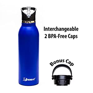 Bend It Sport Thermos Vacuum Insulated Double Walled Stainless Steel Water Bottle, 2 BPA Free Screw Cap Lids: Standard Mouth Flex Cap Hydration Flask Lid, Flip Top Straw Lid Sports Cap (Blue, 21oz)