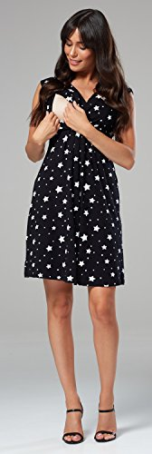 Women's Black neck Dress with Stars Sleeveless V A Maternity Nursing Ville 808c Zeta line gwP85