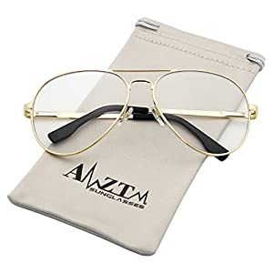 AMZTM Outdoor Reading Working Anti Blue Light Glasses Classic Fashion Retro Double Bridge Metal Frame Non-polarized Glass Lens Aviator Sunglasses For Women and Men (Gold Frame Clear Lens, 62)