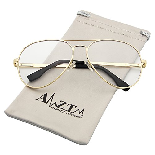 AMZTM Outdoor Reading Working Anti Blue Light Glasses Classic Fashion Retro Double Bridge Metal Frame Non-polarized Glass Lens Aviator Sunglasses For Women and Men (Gold Frame Clear Lens, - Or Lenses Glasses