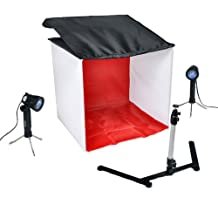 "CowboyStudio Studio Table Top Photography Lighting Kit in a Box, 24""x24"" Square Tent w/ Four Backdrops, Two Lights and One Camera Stand"