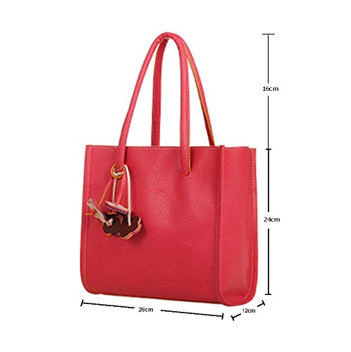 Grande la Marrón del sandía Bolsa Cuero Color de PU del la TM Asas Capacidad roja Caramelo del niceEshop de de vqtxEpU
