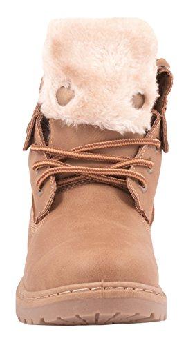 Elara Damen Worker Boots   Bequeme Warm Gefütterte Schnürrer   Outdoor Stiefeletten Pink Sydney