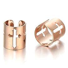 2 Men Women Rose Gold Stainless Steel Ear Cuff with Cross Ear Clip Non-Piercing Clip On Earrings