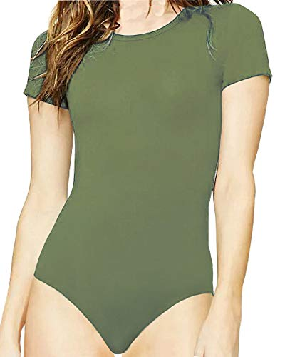 MANGOPOP Women's Round Neck T Shirts Basic Bodysuits (Army Green, XX-Large)