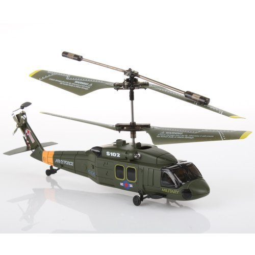 Syma S102G Army Force 7.5″ RC Remote Control Helicopter, 3.5 Channels Infrared Control Indoor Mini Co-Axial UH-60 Black Hawk Stealth Helicopter with Built-in Gyro, Multiplayer Up To 2 Helicopters