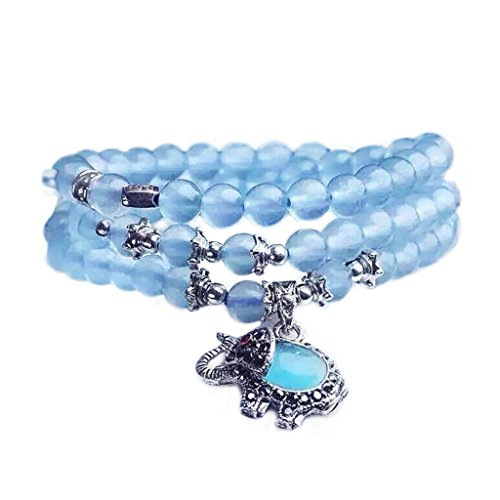 MIKINI Healing Energy Crystal Beads Multi-layered Stacked Stone Bracelet with Lucky Elephant Charm (Blue Chalcedony (8mm))