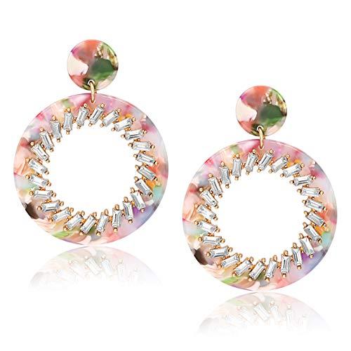 BSJELL Acrylic Hoop Earrings Large Bohemian Crystal Resin Drop Earrings Mottled Flower Stud Earrings Statement Lightweight Jewelry -
