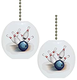 Set of 2 Bowling Ball Solid CERAMIC Fan Pulls