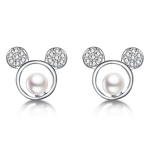 FarryDream 925 Sterling Silver Sparkling CZ Mouse Studs Earrings for Women Teen girls Cute Earrings