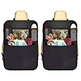 AUTOARK 2 Pack Car Kick Mat Protector 4 Pockets Seat Back Organizer + 1 Free Tissue Boxes,Waterproof,Multi-Pocket Travel Storage Bag,AK-084