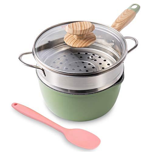 Saucepan with Steamer, ROCKURWOK Nonstick Sauce Pan Small Pot with Lid, Bakelite Handle, 2.5 Quart, Green