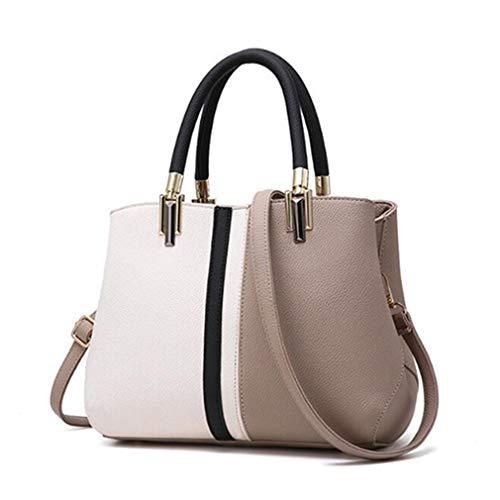 de Tote 29x14x21cm Bag Bolsos Cuero Capacidad de Purple Gran Khaki gRgq1wE