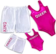 IFFEI Family Matching Swimwear One Piece Monokini Royal King Queen Beach Wear Mommy and Me Bathing Suit