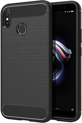 new product 13af4 24300 Unistuff Back Cover Carbon Fiber Shock Proof Rugged Armor Case With  Metallic Brush Finish For Redmi Note 5 Pro - Black