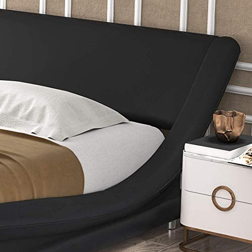 Amolife Upholstered Full Bed Frame/Deluxe Solid Modern Platform Bed/Mattress Foundation/Faux Leather Full Size Bed Frame with Adjustable Headboard and Slat Support, Black 41m uwFEcfL