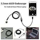 5.5mm 2m 6 LED Lens USB Endoscope Camera Borescope for Android Phone Laptop