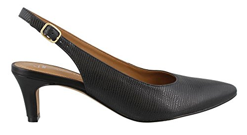 Clarks Women's Crewso Riley Dress Pump, Black Leather Lizard Print, 6 M US