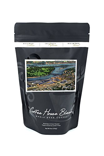 Moline, Illinois - Aerial View of the John Deere Plant - Vintage Halftone (8oz Whole Bean Small Batch Artisan Coffee - Bold & Strong Medium Dark Roast w/Artwork)