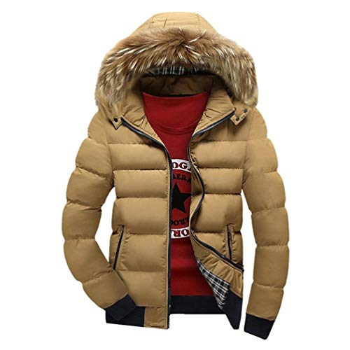 Hooded Faux Padded Hood Warm Coat Padded with Khaki Quilted Windproof Down Thicken Clásico Boy Waterproof Fur Men's Leisure Coat Parka Jacket Detachable waHXWfq
