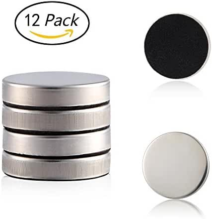 12 Strong Refrigerator Magnets with Black Flannelette for Scratch Safe,1.25 Inches Diameter,Perfect Stainless Steel Fridge Magnets Kitchen Magnets Calendar Magnets by Alago