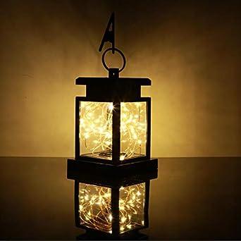 Farol LED colgante para jardín con energía solar, 100% energía solar: Amazon.es: Iluminación