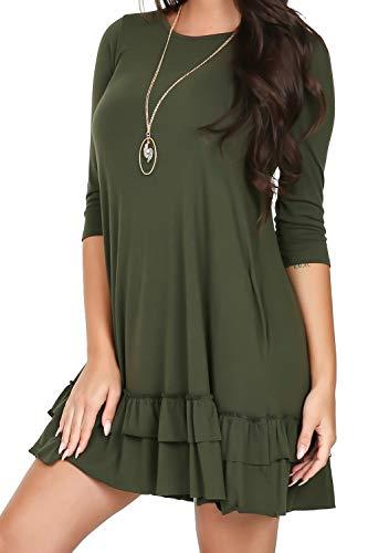 Dress Hem Ruffle (iliad USA P1095 Womens Round Neck 3/4 Sleeve Ruffle Hem Dress Dark Olive Medium)