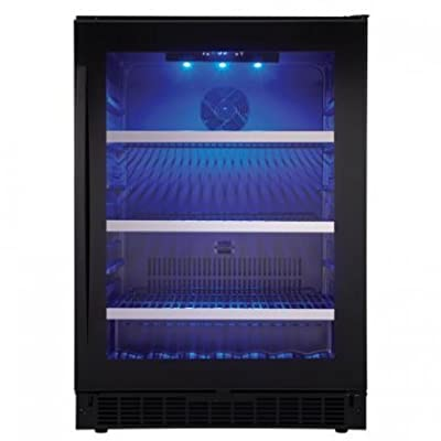 "Danby SSBC056D2B Select Prague 24"" Single Zone Beverage Center with 5.6 Cu. Ft. Capacity Stainless Steel Trimmed Black Wire Shelves in Black Finish and Glass"