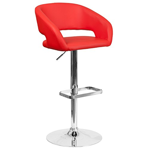 Red Adjustable Bar Stools - 7