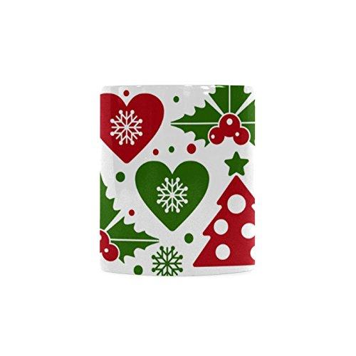 [Christmas Tree and Mistletoe White Ceramic Coffee Mug Tea Cup] (Shredder Costume Pattern)