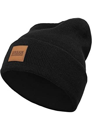 Urban Classic Unisex Knitted Cap Leather Patch Long Beanie 00cc660a2b9