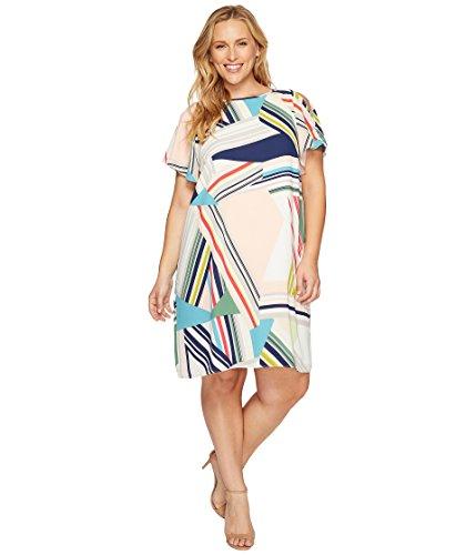 天井ステレオタイプブラインド[アドリアナパペル] Adrianna Papell レディース Plus Size Striped Maze Printed Trapeze Cold Shoulder Dress ドレス Blue/Green Multi 22W [並行輸入品]