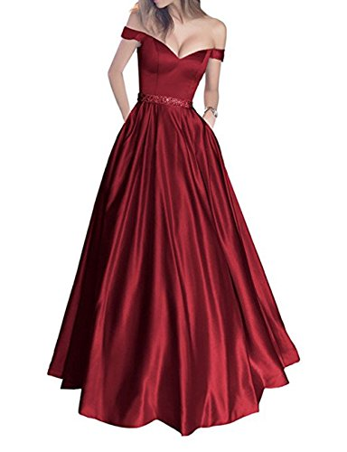 Hatail Women Off the Shoulder Prom Dress Long A Line Evening Gown with Pockets